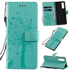 Embossing Butterfly Tree Leather Wallet Case for Sony Xperia 5 - Cyan