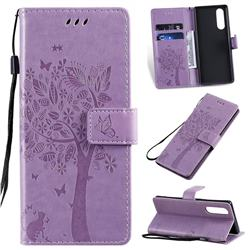 Embossing Butterfly Tree Leather Wallet Case for Sony Xperia 5 - Violet
