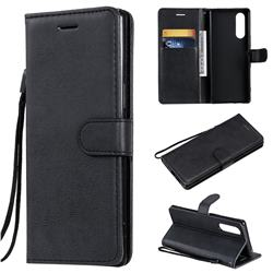 Retro Greek Classic Smooth PU Leather Wallet Phone Case for Sony Xperia 5 - Black