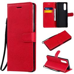 Retro Greek Classic Smooth PU Leather Wallet Phone Case for Sony Xperia 5 - Red
