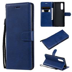 Retro Greek Classic Smooth PU Leather Wallet Phone Case for Sony Xperia 5 - Blue