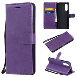 Retro Greek Classic Smooth PU Leather Wallet Phone Case for Sony Xperia 5 - Purple