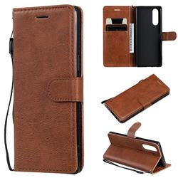 Retro Greek Classic Smooth PU Leather Wallet Phone Case for Sony Xperia 5 - Brown