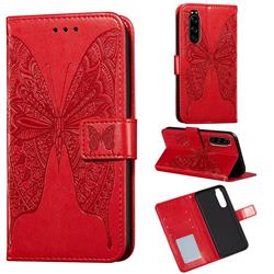 Intricate Embossing Vivid Butterfly Leather Wallet Case for Sony Xperia 5 - Red