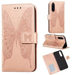 Intricate Embossing Vivid Butterfly Leather Wallet Case for Sony Xperia 5 - Rose Gold