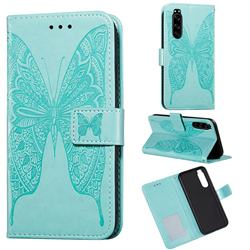 Intricate Embossing Vivid Butterfly Leather Wallet Case for Sony Xperia 5 - Green