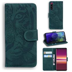 Intricate Embossing Tiger Face Leather Wallet Case for Sony Xperia 5 - Green