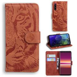 Intricate Embossing Tiger Face Leather Wallet Case for Sony Xperia 5 - Brown