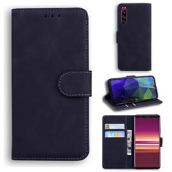 Retro Classic Skin Feel Leather Wallet Phone Case for Sony Xperia 5 - Black