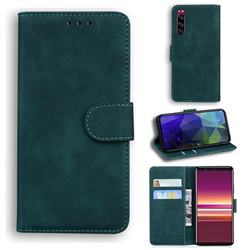 Retro Classic Skin Feel Leather Wallet Phone Case for Sony Xperia 5 - Green