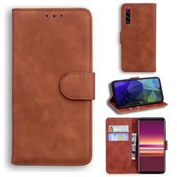 Retro Classic Skin Feel Leather Wallet Phone Case for Sony Xperia 5 - Brown