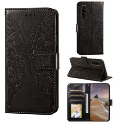 Intricate Embossing Rose Flower Butterfly Leather Wallet Case for Sony Xperia 5 - Black