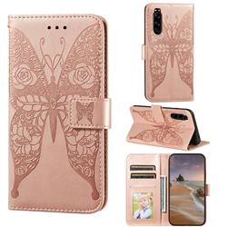 Intricate Embossing Rose Flower Butterfly Leather Wallet Case for Sony Xperia 5 - Rose Gold