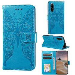 Intricate Embossing Rose Flower Butterfly Leather Wallet Case for Sony Xperia 5 - Blue