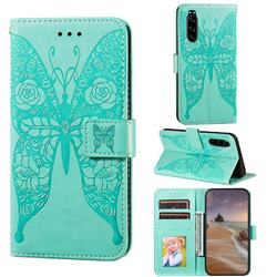 Intricate Embossing Rose Flower Butterfly Leather Wallet Case for Sony Xperia 5 - Green