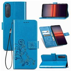 Embossing Imprint Four-Leaf Clover Leather Wallet Case for Sony Xperia 5 II - Blue
