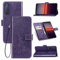 Embossing Imprint Four-Leaf Clover Leather Wallet Case for Sony Xperia 5 II - Purple