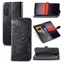 Embossing Imprint Mandala Flower Leather Wallet Case for Sony Xperia 5 II - Black