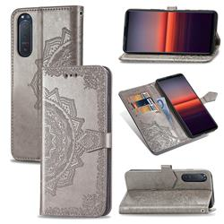 Embossing Imprint Mandala Flower Leather Wallet Case for Sony Xperia 5 II - Gray