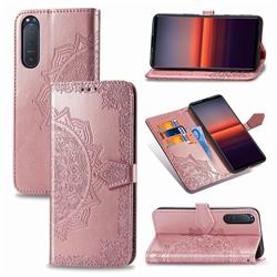 Embossing Imprint Mandala Flower Leather Wallet Case for Sony Xperia 5 II - Rose Gold