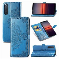 Embossing Imprint Mandala Flower Leather Wallet Case for Sony Xperia 5 II - Blue