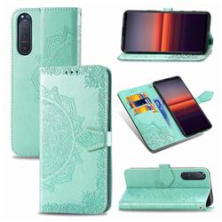 Embossing Imprint Mandala Flower Leather Wallet Case for Sony Xperia 5 II - Green