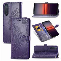 Embossing Imprint Mandala Flower Leather Wallet Case for Sony Xperia 5 II - Purple