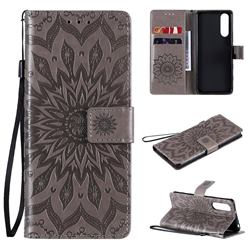 Embossing Sunflower Leather Wallet Case for Sony Xperia 5 II - Gray