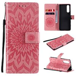 Embossing Sunflower Leather Wallet Case for Sony Xperia 5 II - Pink