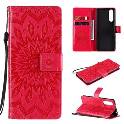 Embossing Sunflower Leather Wallet Case for Sony Xperia 5 II - Red