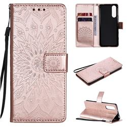 Embossing Sunflower Leather Wallet Case for Sony Xperia 5 II - Rose Gold