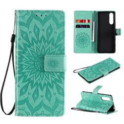 Embossing Sunflower Leather Wallet Case for Sony Xperia 5 II - Green