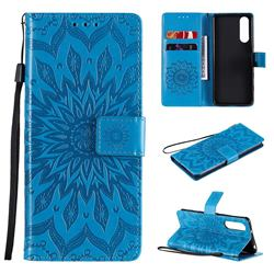 Embossing Sunflower Leather Wallet Case for Sony Xperia 5 II - Blue