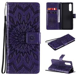Embossing Sunflower Leather Wallet Case for Sony Xperia 5 II - Purple