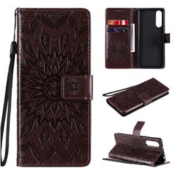 Embossing Sunflower Leather Wallet Case for Sony Xperia 5 II - Brown