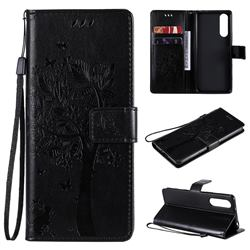 Embossing Butterfly Tree Leather Wallet Case for Sony Xperia 5 II - Black