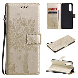 Embossing Butterfly Tree Leather Wallet Case for Sony Xperia 5 II - Champagne