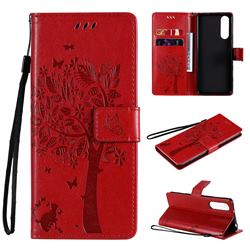 Embossing Butterfly Tree Leather Wallet Case for Sony Xperia 5 II - Red
