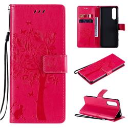 Embossing Butterfly Tree Leather Wallet Case for Sony Xperia 5 II - Rose