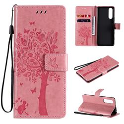 Embossing Butterfly Tree Leather Wallet Case for Sony Xperia 5 II - Pink
