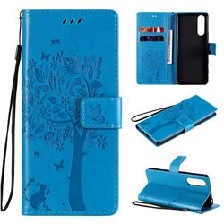 Embossing Butterfly Tree Leather Wallet Case for Sony Xperia 5 II - Blue