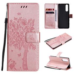 Embossing Butterfly Tree Leather Wallet Case for Sony Xperia 5 II - Rose Pink