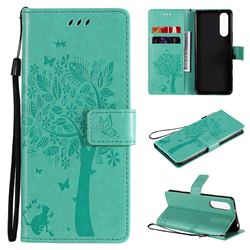 Embossing Butterfly Tree Leather Wallet Case for Sony Xperia 5 II - Cyan