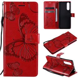 Embossing 3D Butterfly Leather Wallet Case for Sony Xperia 5 II - Red