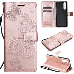 Embossing 3D Butterfly Leather Wallet Case for Sony Xperia 5 II - Rose Gold