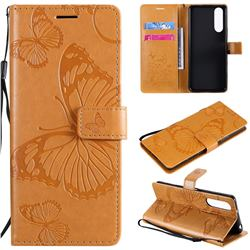 Embossing 3D Butterfly Leather Wallet Case for Sony Xperia 5 II - Yellow