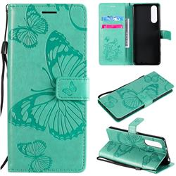 Embossing 3D Butterfly Leather Wallet Case for Sony Xperia 5 II - Green