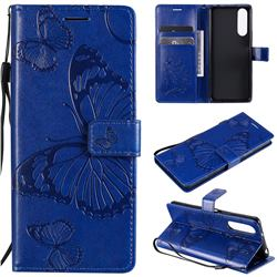 Embossing 3D Butterfly Leather Wallet Case for Sony Xperia 5 II - Blue