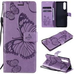 Embossing 3D Butterfly Leather Wallet Case for Sony Xperia 5 II - Purple