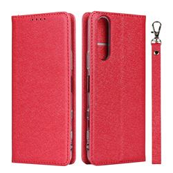 Ultra Slim Magnetic Automatic Suction Silk Lanyard Leather Flip Cover for Sony Xperia 5 II - Red
